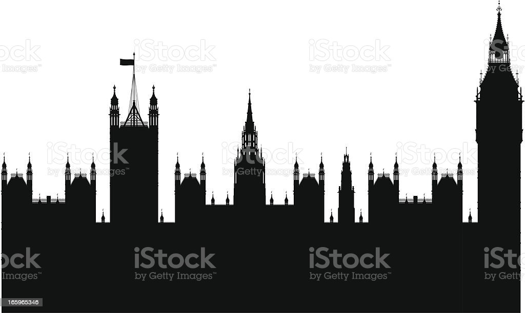 Big Ben and the Houses of Parliament vector art illustration