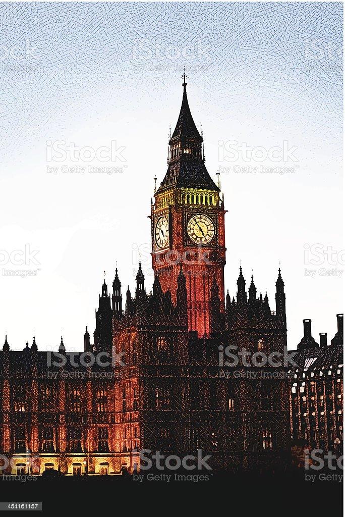Big Ben At Sunset vector art illustration