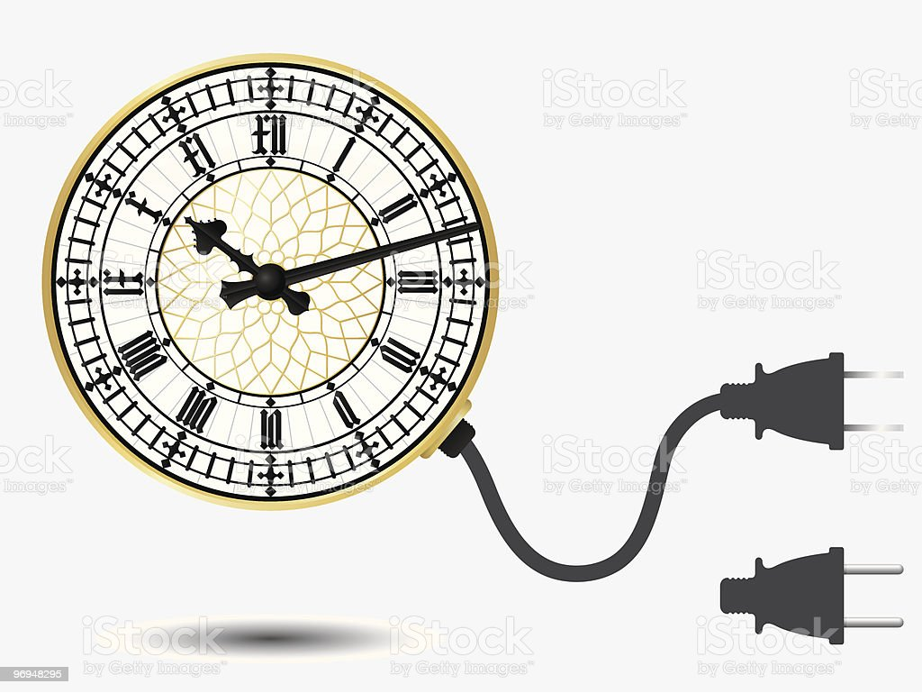 Big ben clock with connector plug royalty-free stock vector art
