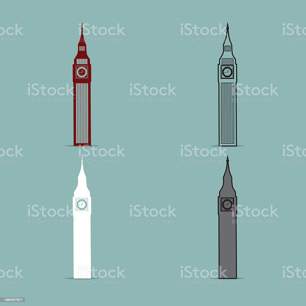 Big Ben london Black Silhouette Vector Illustration royalty-free stock vector art