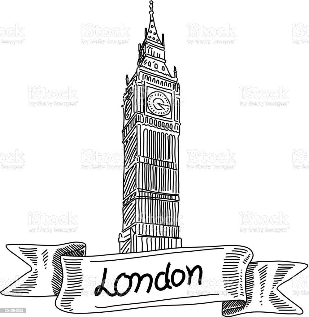 Big Ben tower, London, Drawing vector art illustration