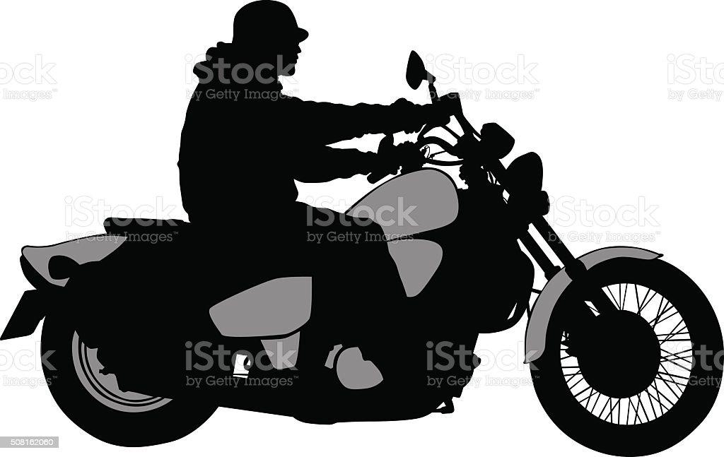 Big biker vector art illustration