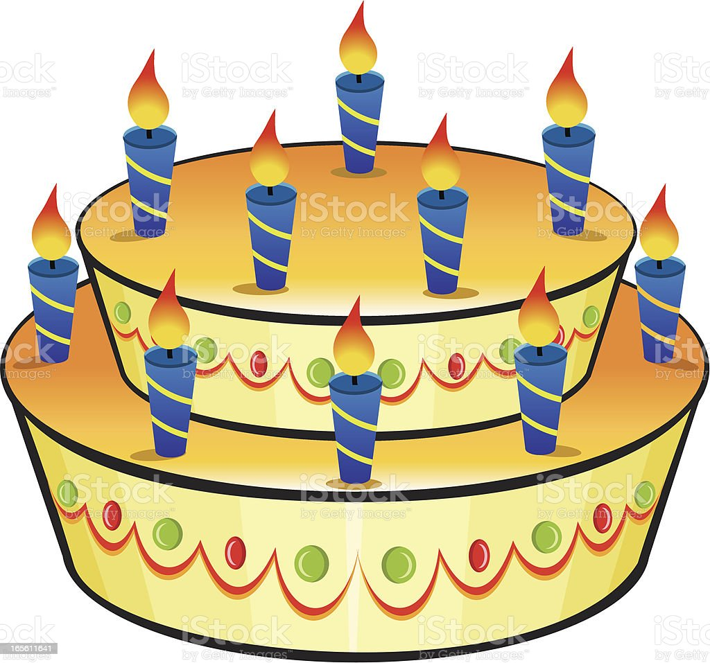 Big birthday cake vector art illustration