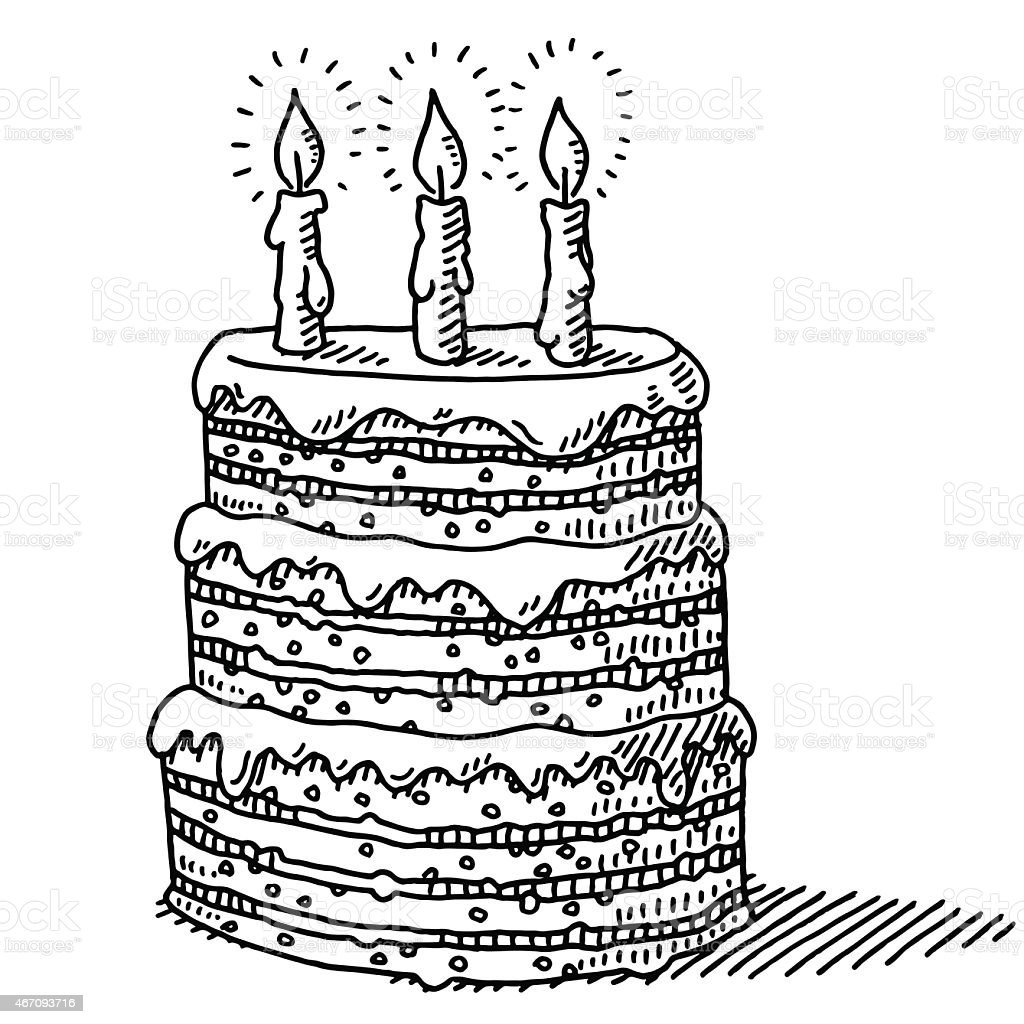 Big Birthday Cake With Three Candles On Top Drawing vector art illustration