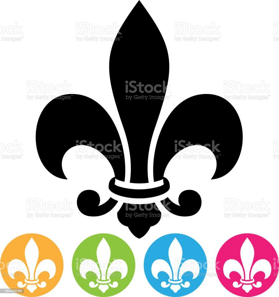Big black fleur de lis with four smaller colorful ones vector art illustration