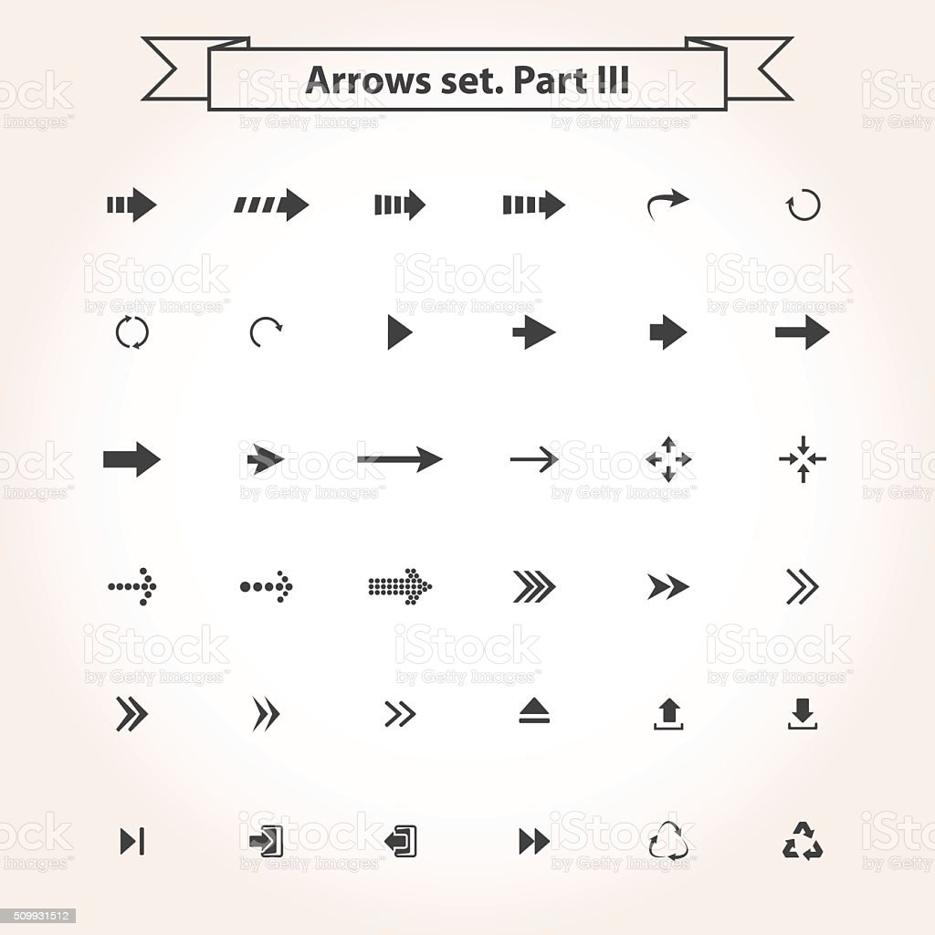 Big black set arrows vector art illustration