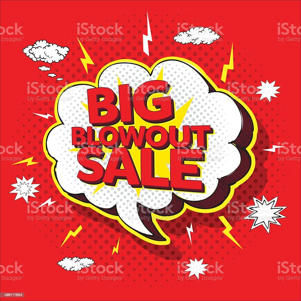 Big blowout sale pop up cartoon banner vector art illustration