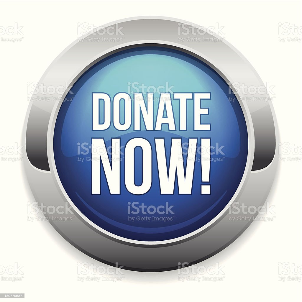 Big blue donate now button royalty-free stock vector art