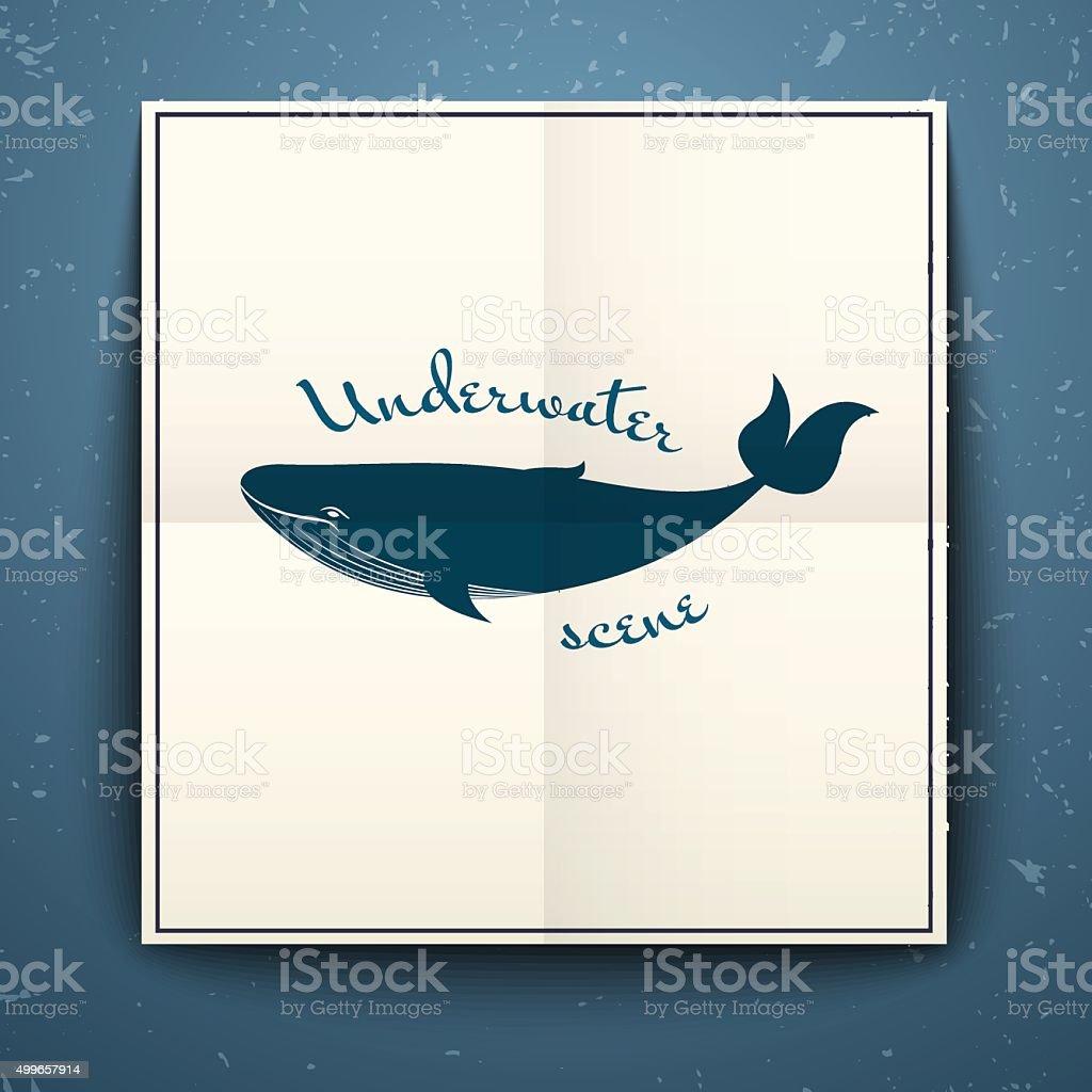 Big blue whale poster, vector illustration vector art illustration