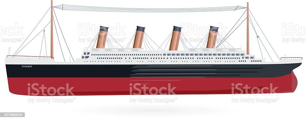 Big boat legendary colossal boat monumental big ship symbol. vector art illustration
