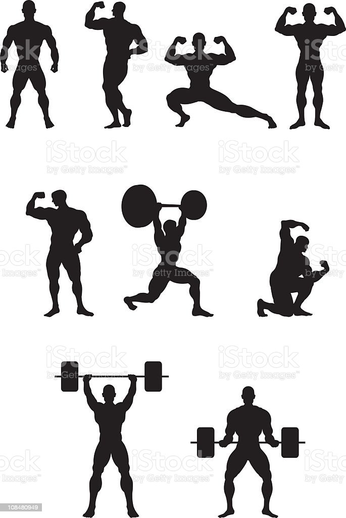 Big body builders vector art illustration