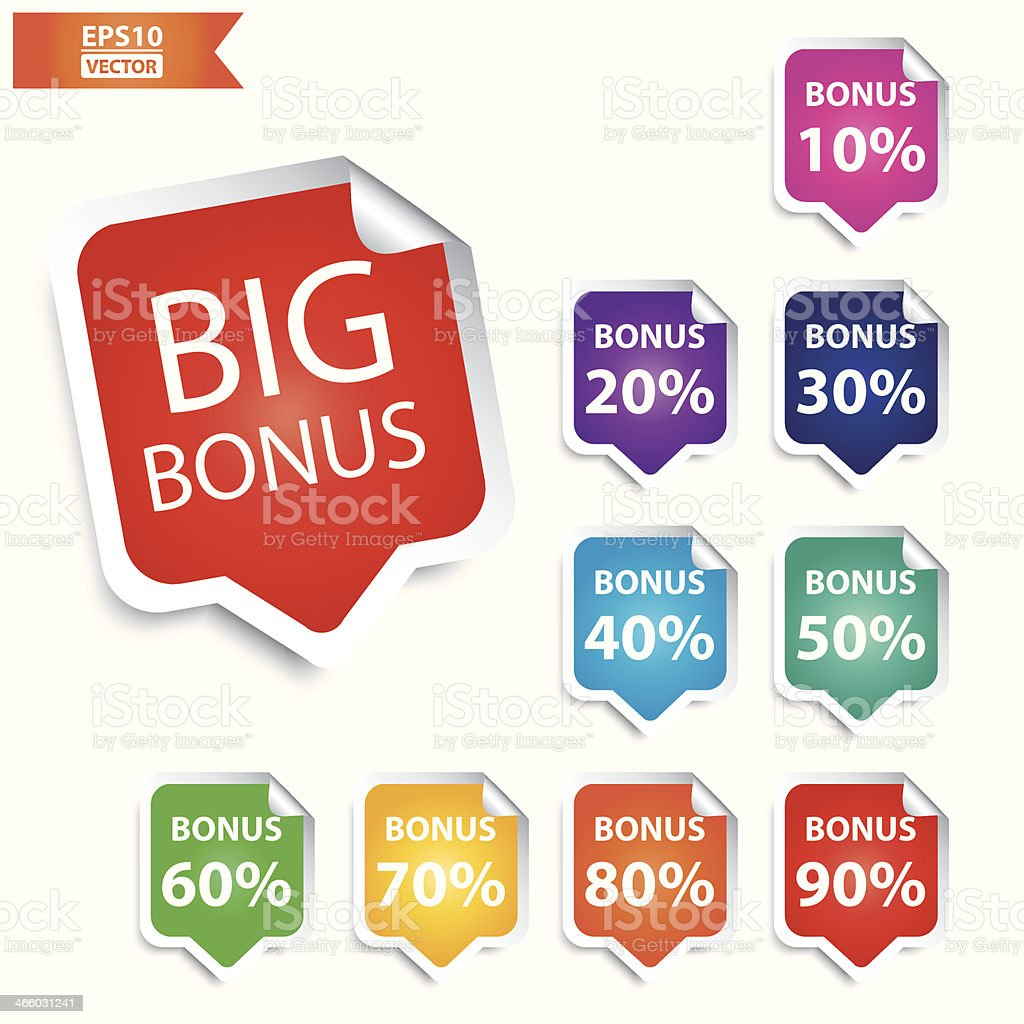 Big Bonus tags 10 - 90 percent with colorful set. royalty-free stock vector art
