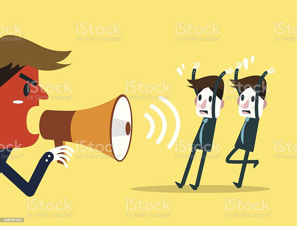 Big boss screaming to businessmen. vector art illustration