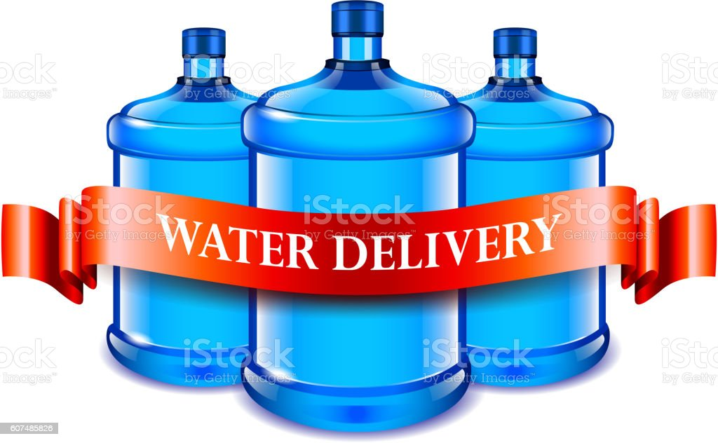 Big bottles and red ribbon, water delivery concept vector art illustration