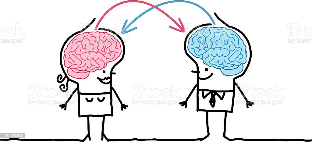 big brain couple and exchange royalty-free stock vector art