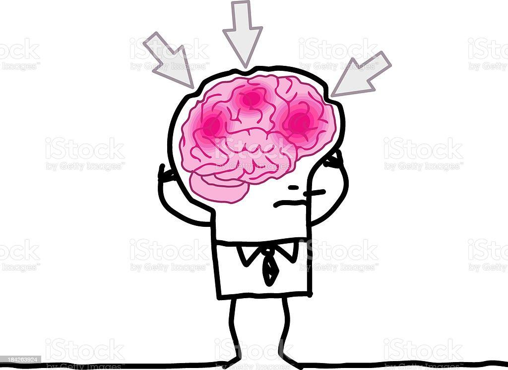 big brain man and headache vector art illustration