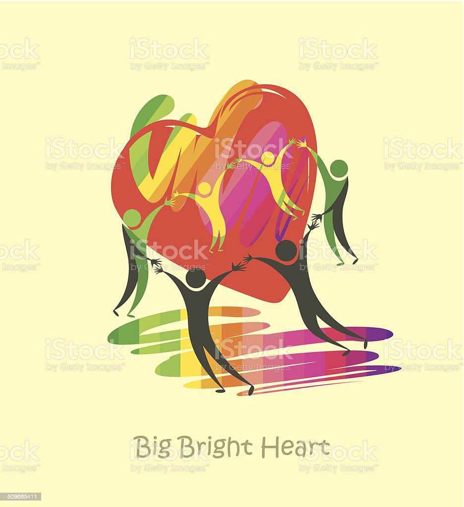 Big Bright Heart. vector art illustration