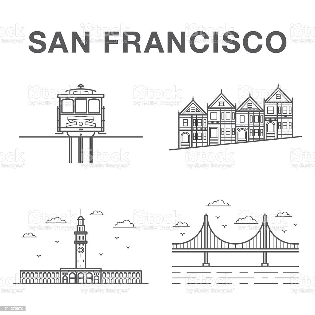 Big bundle of world famous San Francisco city landmarks vector art illustration
