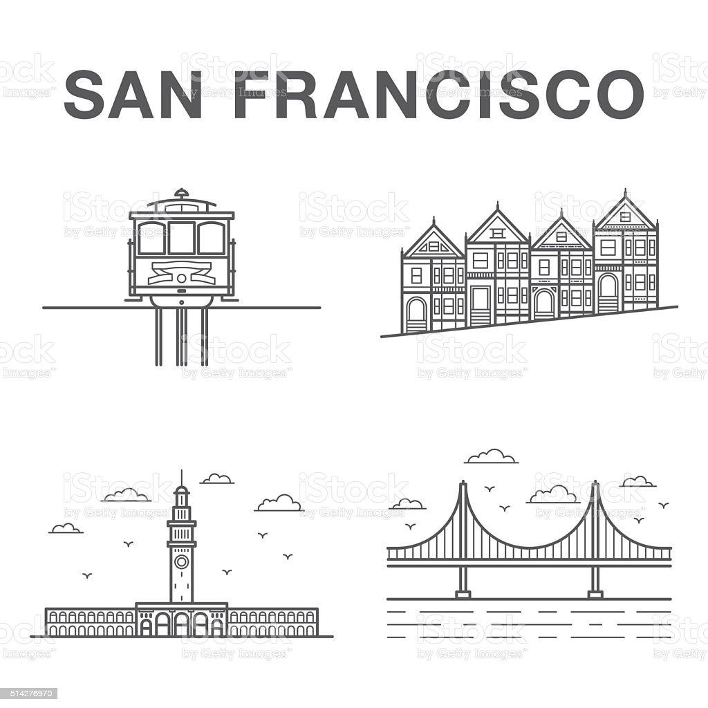 Big bundle of world famous San Francisco city landmarks vector art illustration