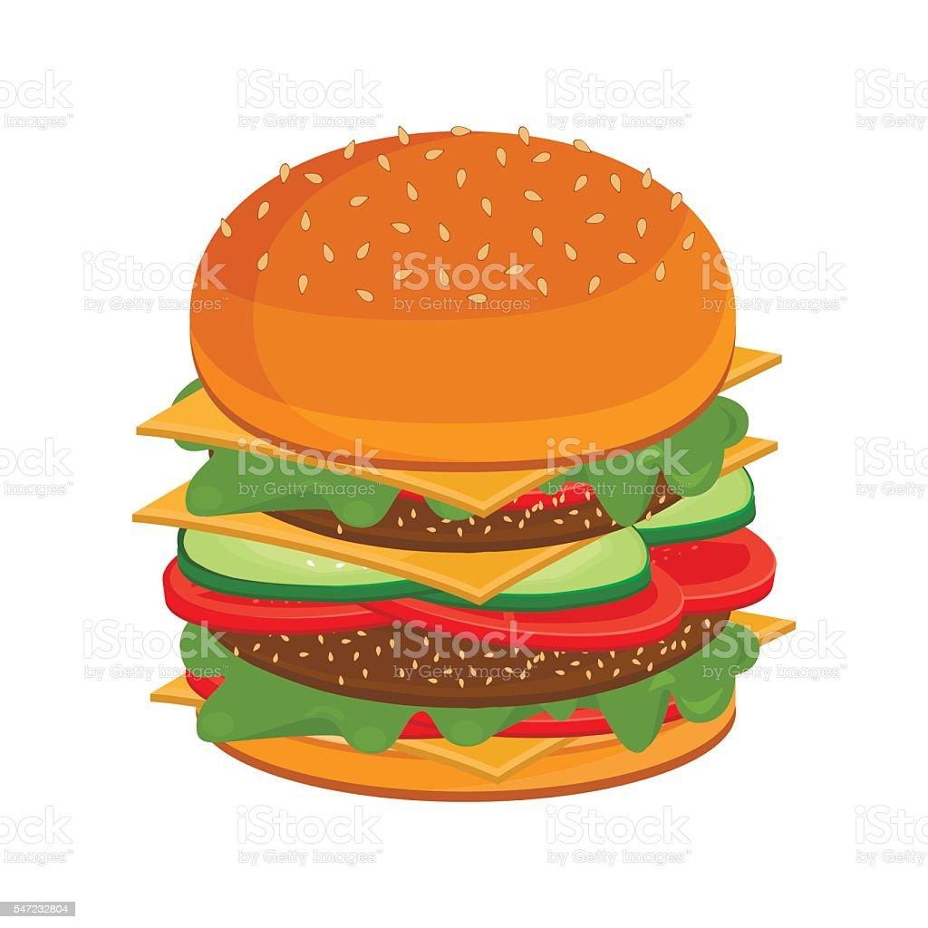Big burger fast food unhealthy cuisine vector. vector art illustration