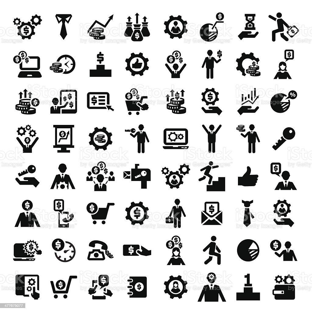 big business success icons set vector art illustration