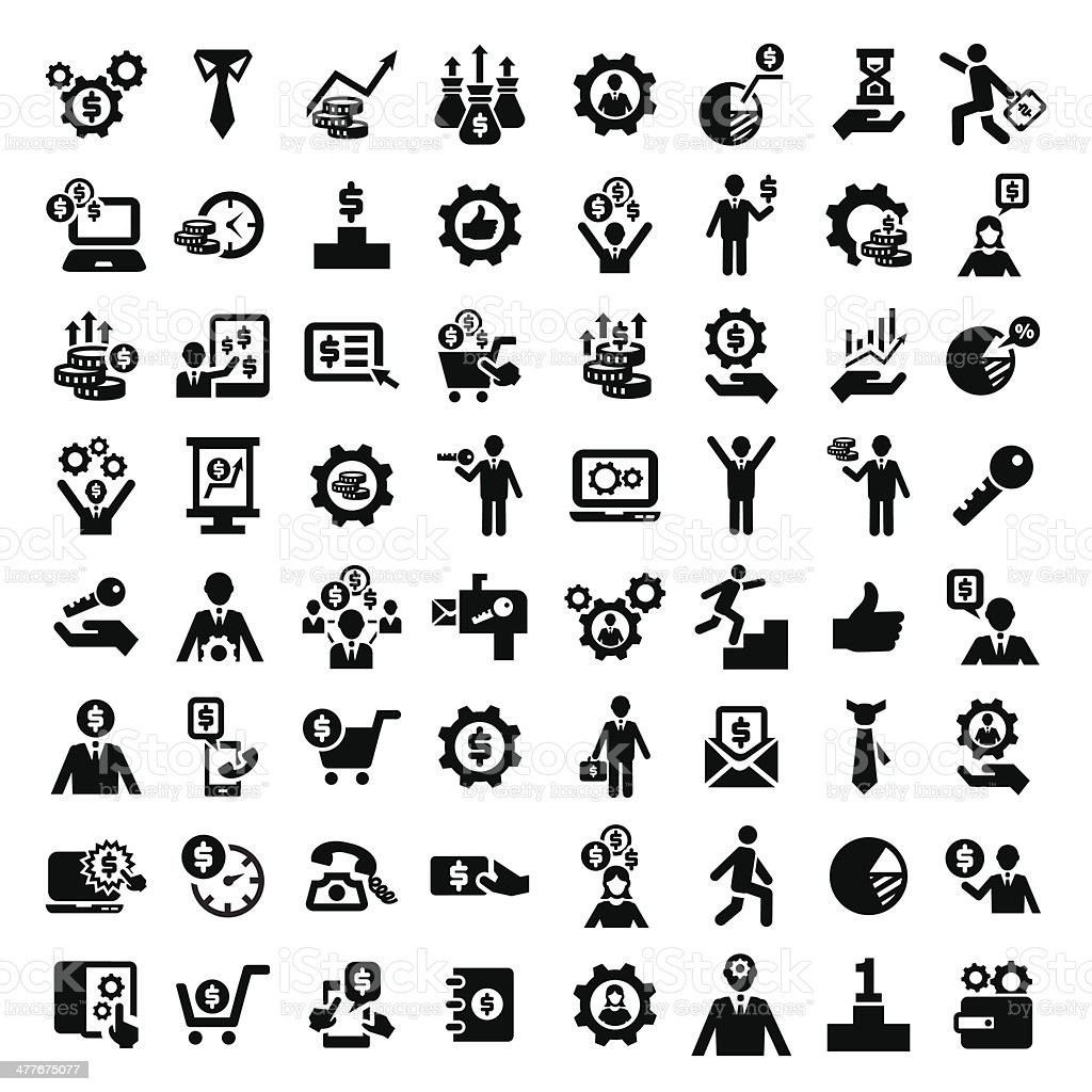 big business success icons set vector art illustration