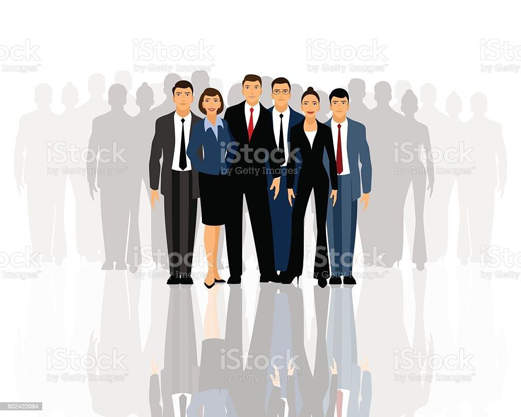 Big business team vector art illustration