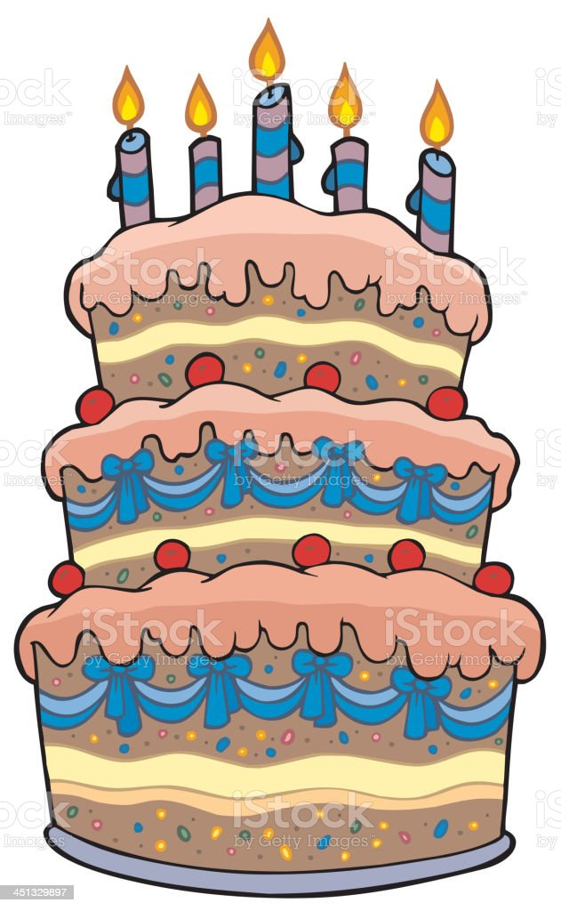 Big cartoon cake with candles royalty-free stock vector art