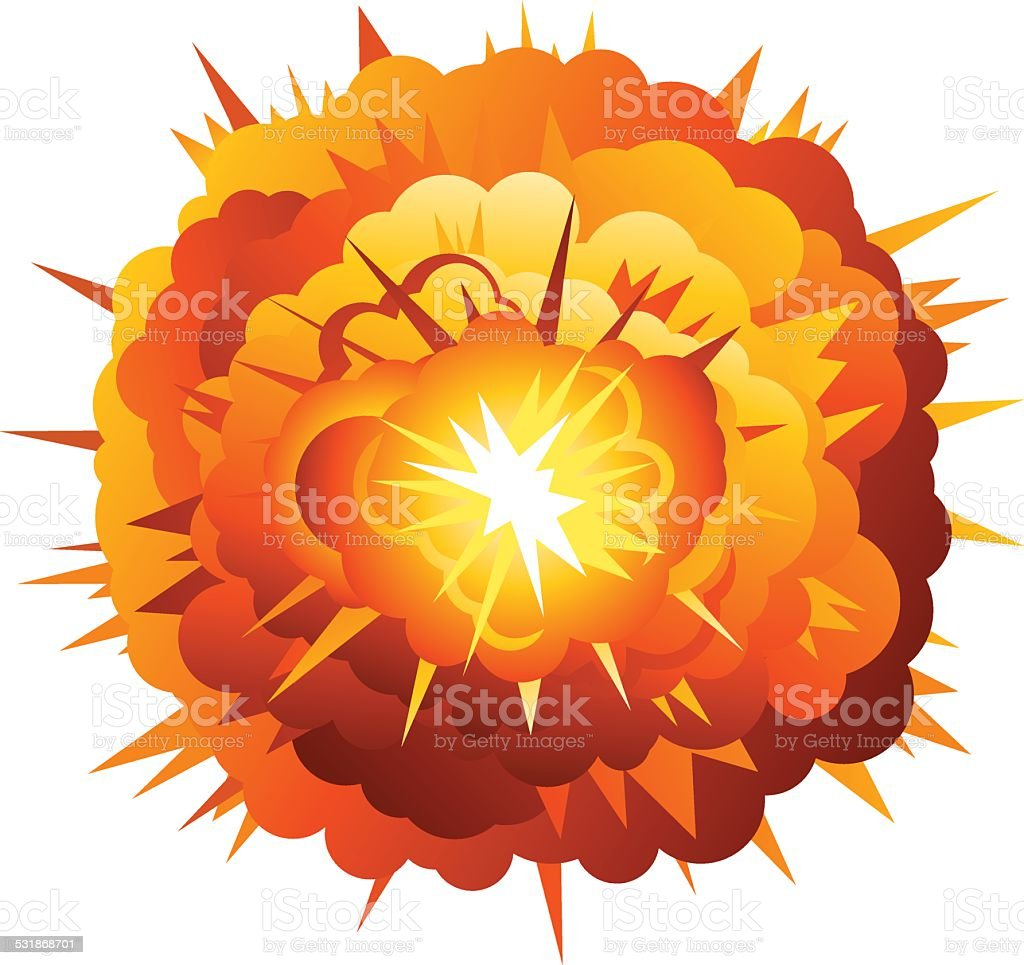 Big Cartoon Radial Explosion vector art illustration