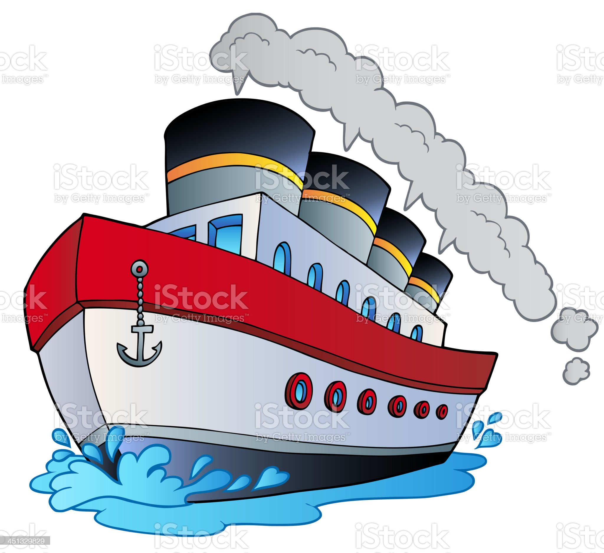 Big cartoon steamship royalty-free stock vector art