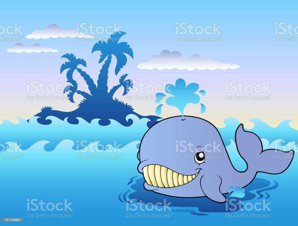 Big cartoon whale in sea royalty-free stock vector art