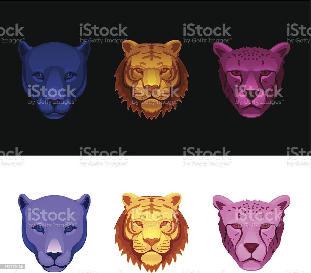 big cat set-tiger, cheetah, panther royalty-free stock vector art