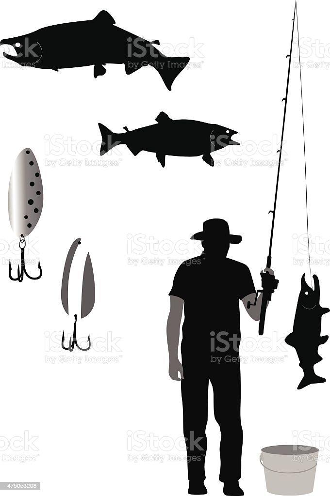 Big Catch vector art illustration