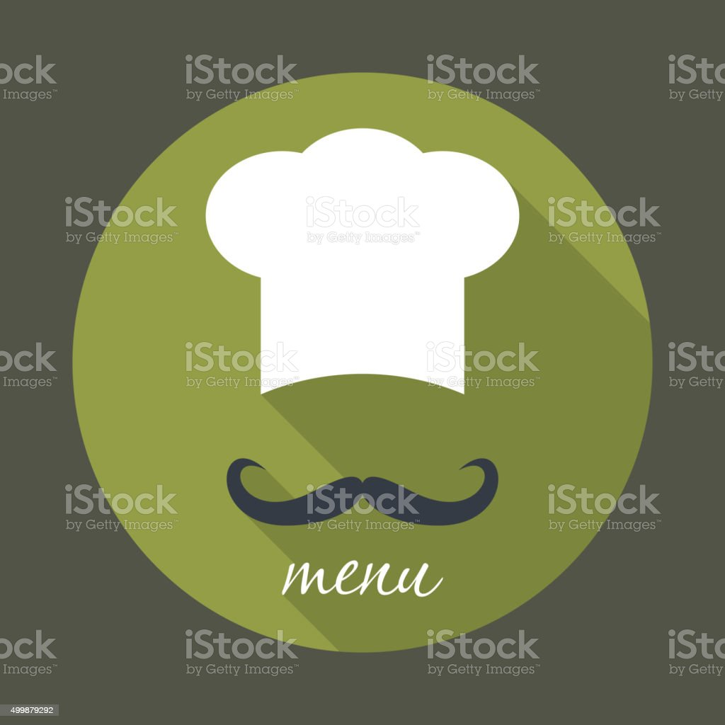Big chef hat with mustache vector illustration. vector art illustration