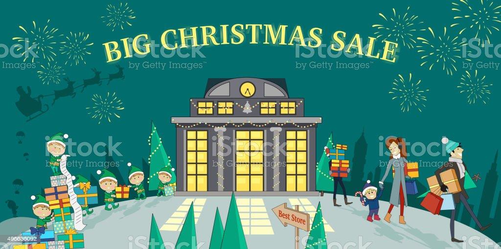 Big Christmas Sale Glowing Shop vector art illustration