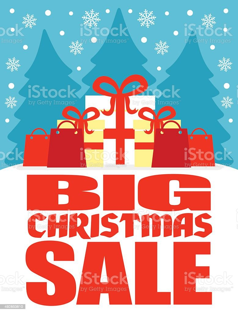 Big Christmas sale poster vector art illustration