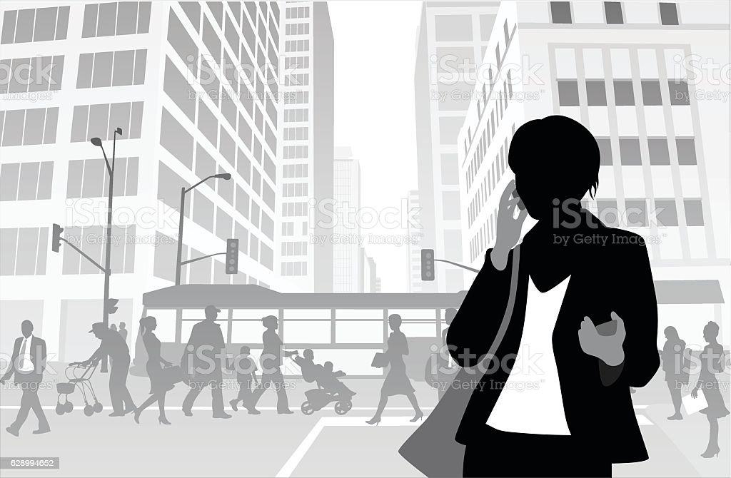 Big City Business Woman vector art illustration