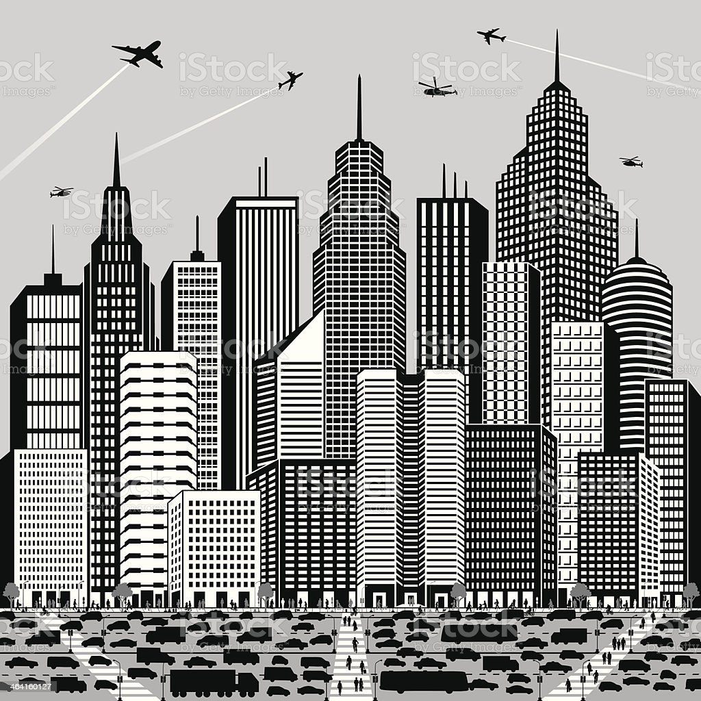 Big city filled with a lot of cars and people royalty-free stock vector art