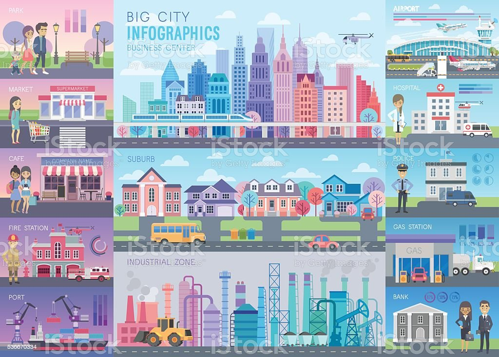 Big City Infographic set with charts and other elements. vector art illustration