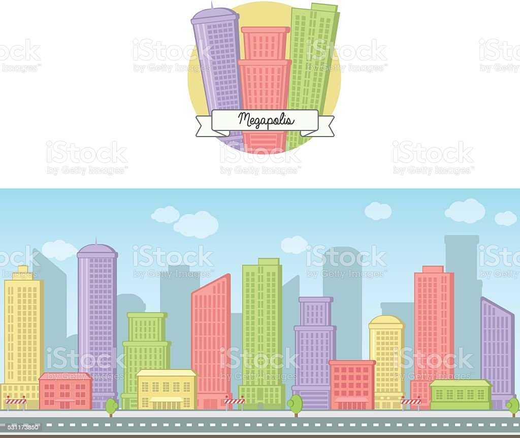 Big city skyline background vector art illustration