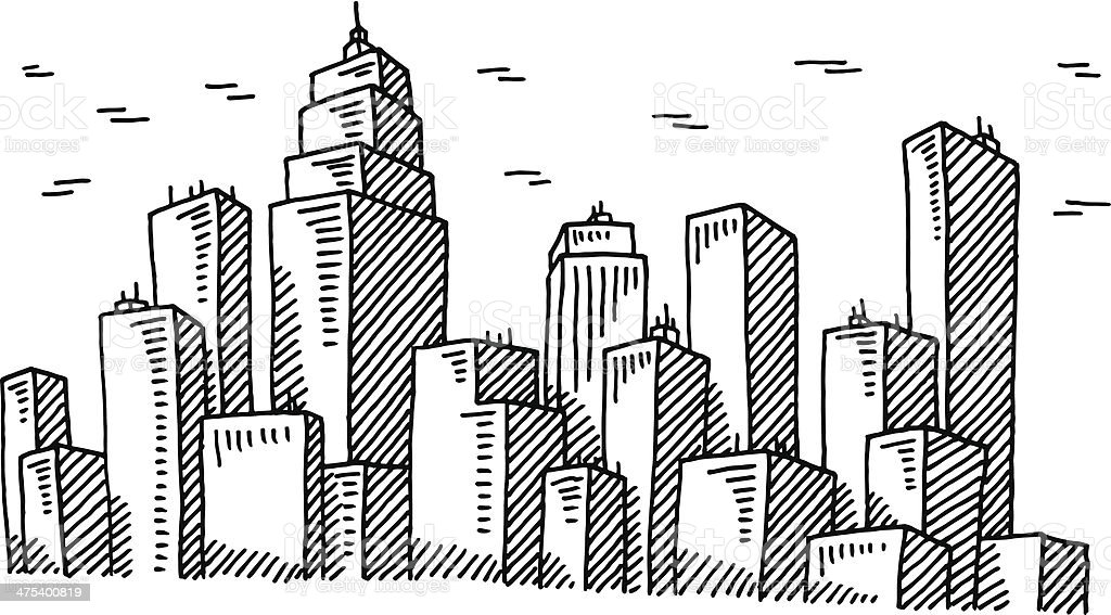 Big City Skyline Drawing vector art illustration