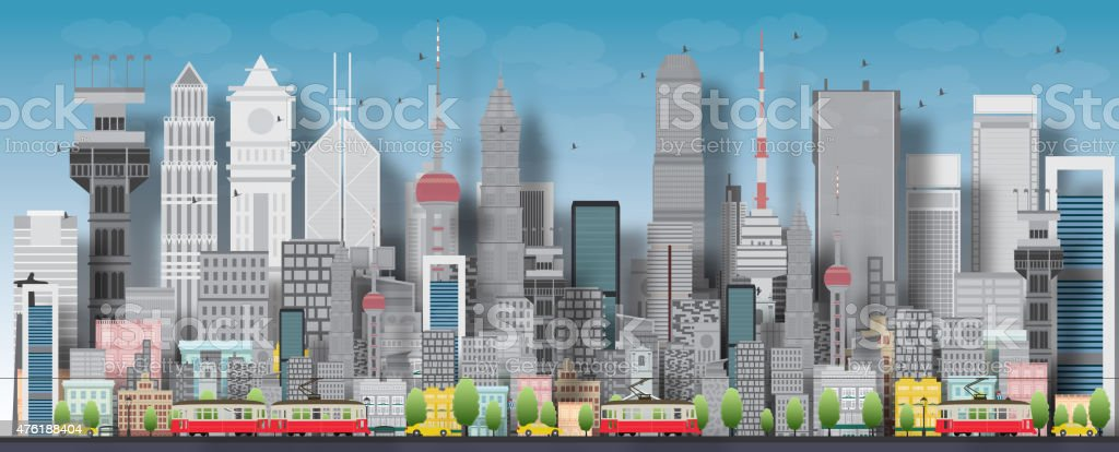 Big city with skyscrapers and small houses vector art illustration