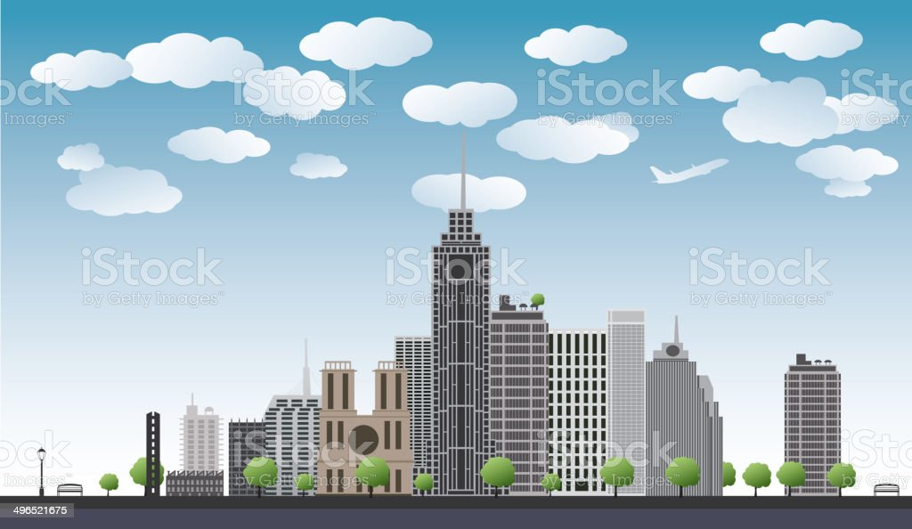 big city with skyscrapers, blue sky,trees. vector illustration vector art illustration