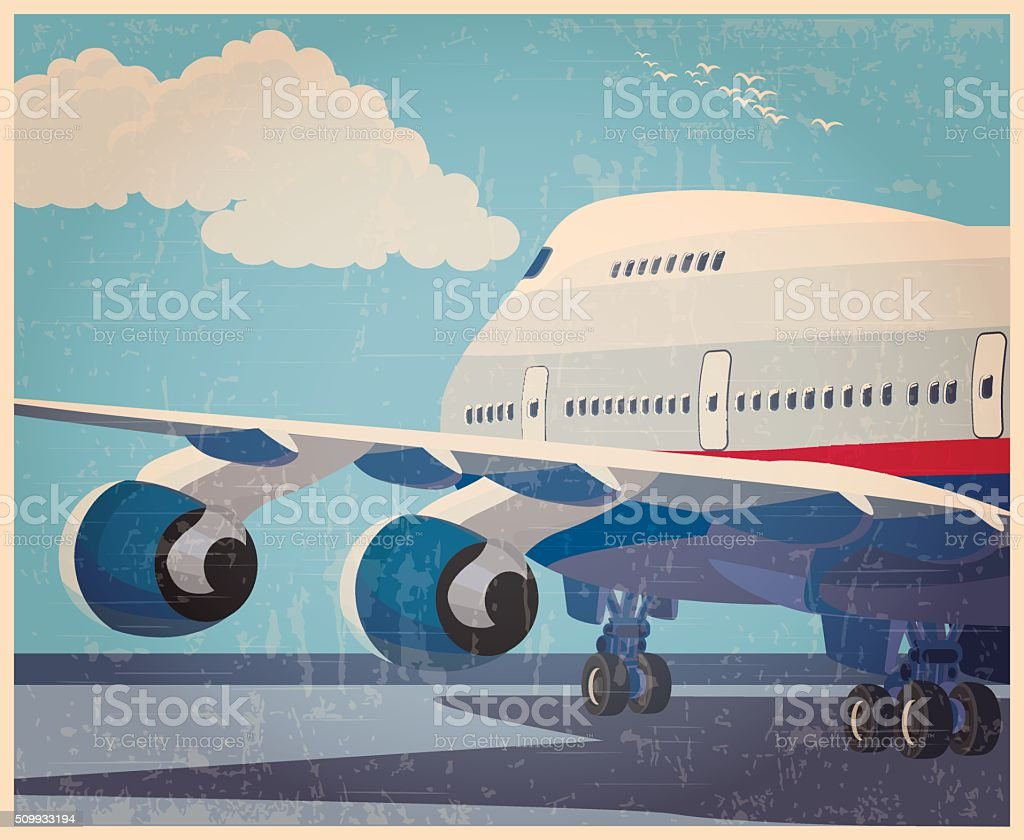big civil aircraft old poster vector art illustration