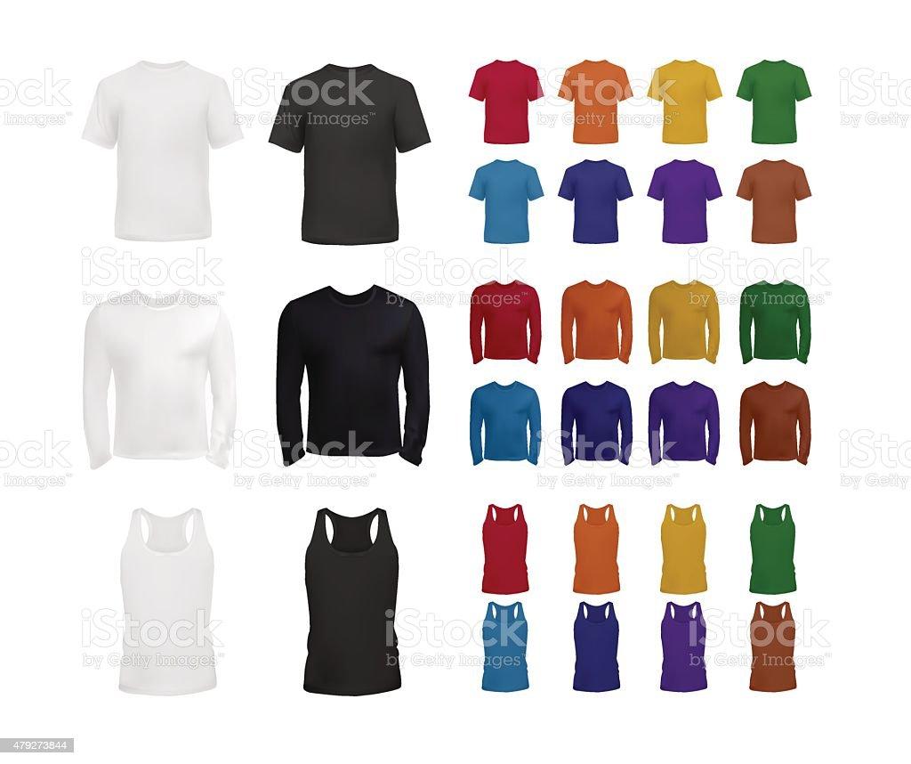 Big clothes templates set vector art illustration