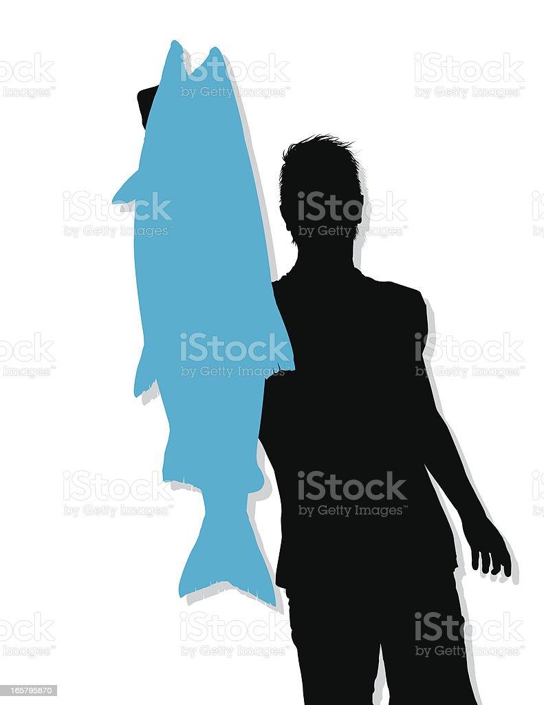 Big Coho Salmon Catch - Silhouette vector art illustration