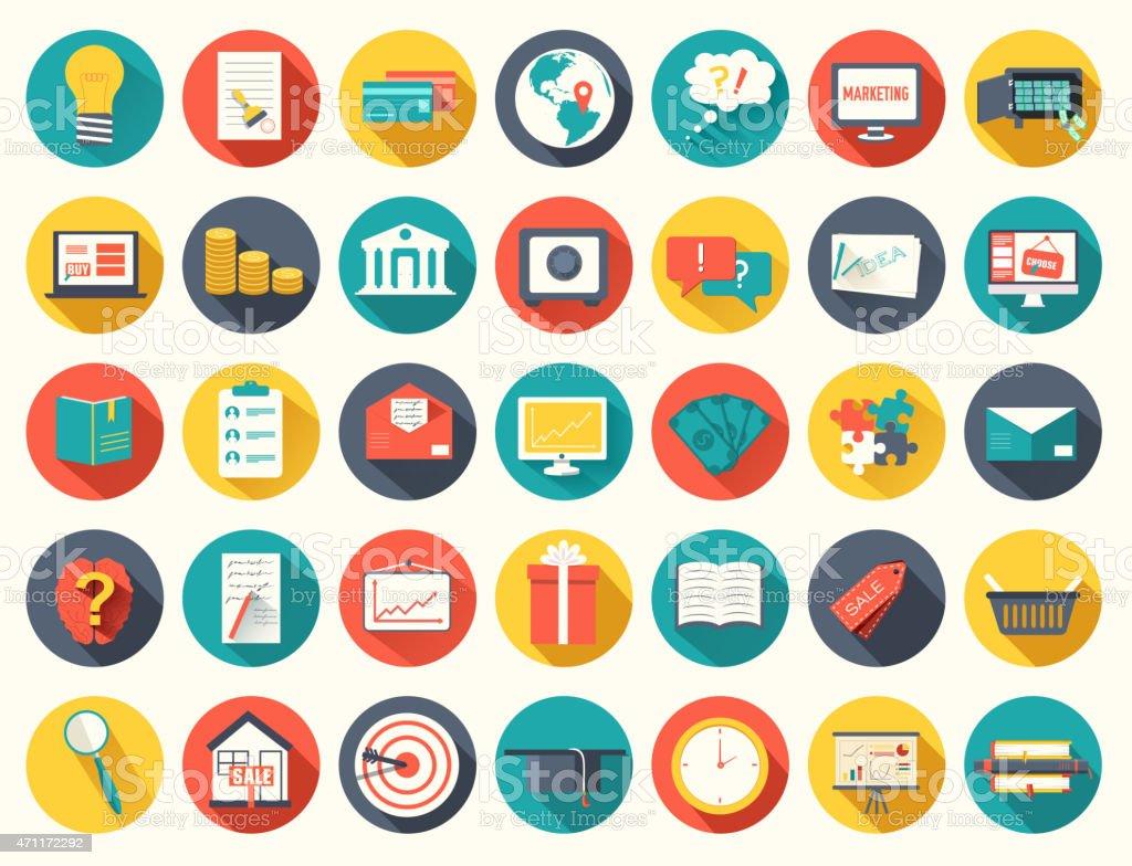 Big collection business, education, online training, marketing background vector art illustration