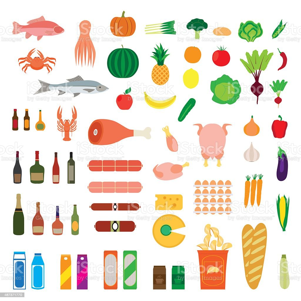 Big collection of food items. vector art illustration