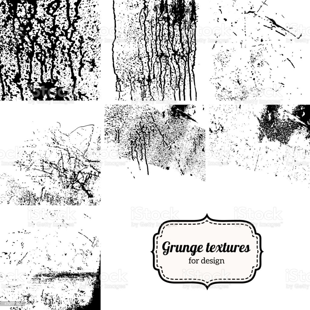 Big collection of grunge textures isolated on white. vector art illustration