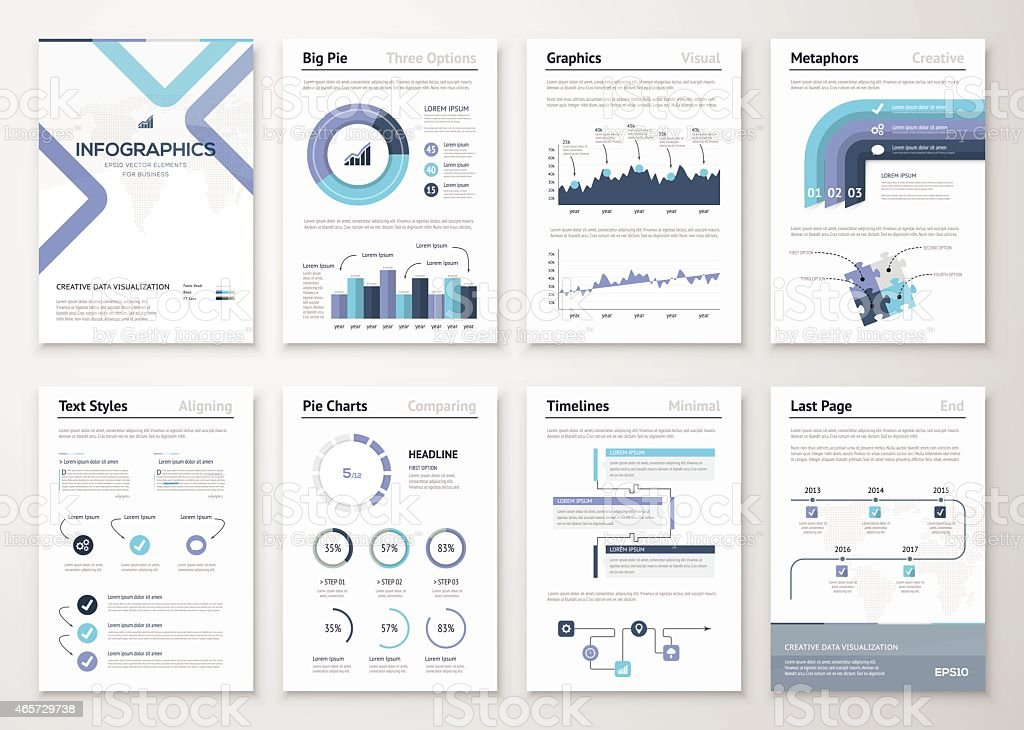 Big collection of infographic elements and business brochures vector art illustration
